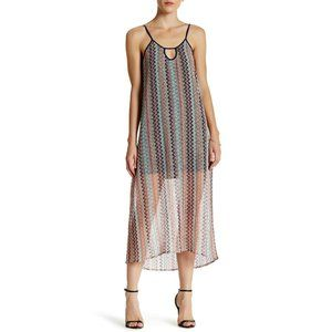 Love...Ady Crochet Knit Slip Maxi Dress Size L